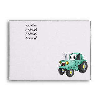 Cute happy green tractor cartoon  envelope