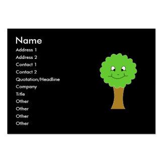 Cute Happy Green Tree. On black. Business Card