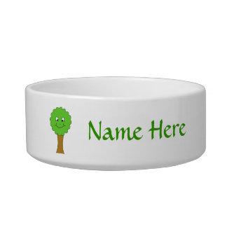Cute Happy Green Tree. On white. Bowl