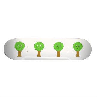 Cute Happy Green Tree. On white. Skateboard
