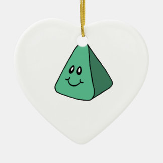 Cute Happy Green Triangle Ceramic Ornament