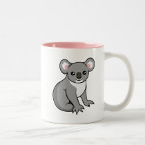 Cute Happy Grey Koala Drawing Two-tone Pink Mug