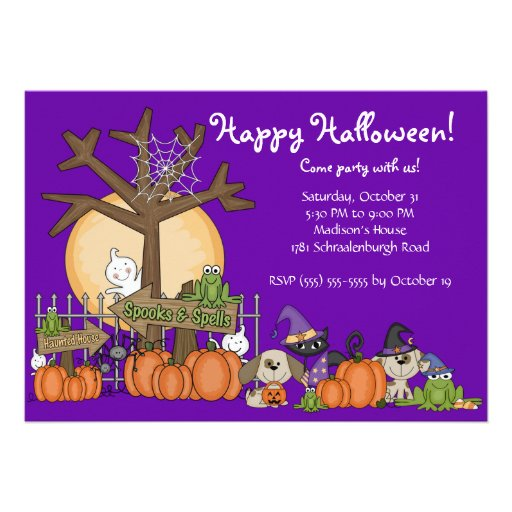 Cute  Happy Halloween Party Invitation for Kids