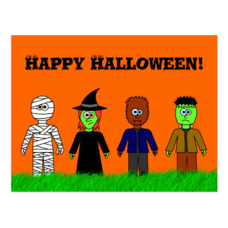 Cute Happy Halloween Postcard