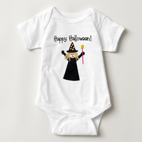 Cute Happy Halloween Witch Baby Bodysuit
