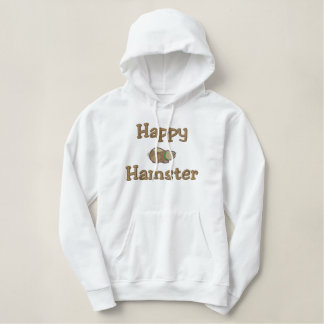 Cute Happy Hamster, Happy, Hamster Embroidered Hoodie