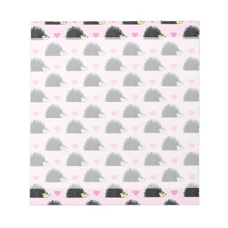 Cute Happy Hedgehog and Heart Pink Pattern Notepads