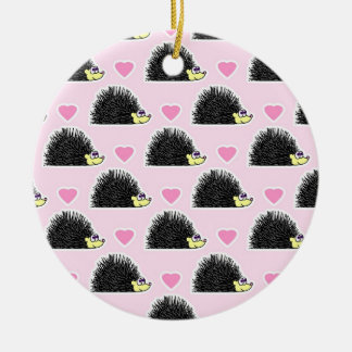Cute Happy Hedgehog and Heart Pink Pattern Christmas Tree Ornament
