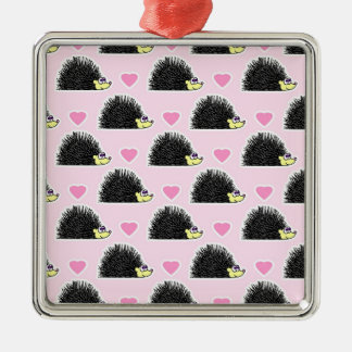 Cute Happy Hedgehog and Heart Pink Pattern Christmas Tree Ornaments