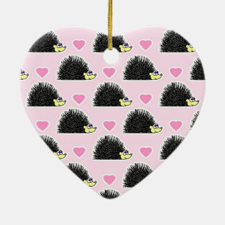 Cute Happy Hedgehog and Heart Pink Pattern Ornament