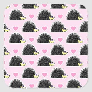 Cute Happy Hedgehog and Heart Pink Pattern Square Sticker