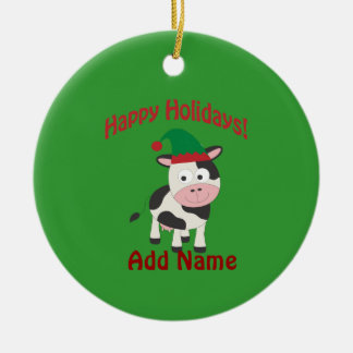 Cute Happy Holidays Christmas Elf Cow Ceramic Ornament
