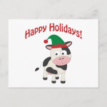 Cute Happy Holidays Christmas Elf Cow Holiday Postcard
