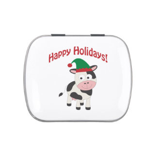 Cute Happy Holidays Christmas Elf Cow Jelly Belly Tin