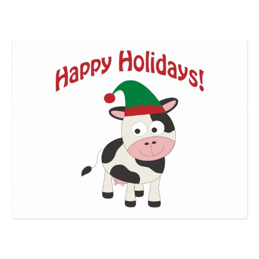 Cute Happy Holidays Christmas Elf Cow Postcard  Zazzle