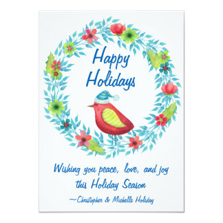 Cute Happy Holidays Flower Wreath with Red Bird Card