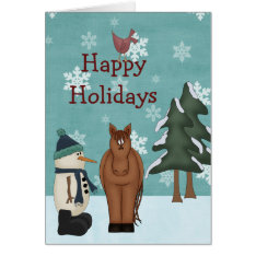 Cute Happy Holidays Horse And Snowman Christmas Card at Zazzle
