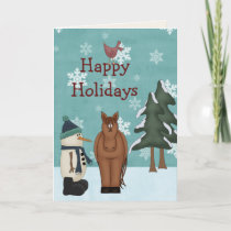 Cute Happy Holidays Horse and Snowman Christmas Holiday Card