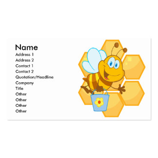 cute happy honey bee and honeycomb Double-Sided standard business cards (Pack of 100)