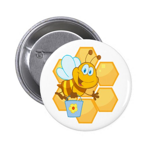 cute happy honey bee and honeycomb 2 inch round button