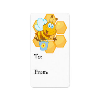 cute happy honey bee and honeycomb label