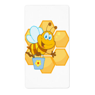 cute happy honey bee and honeycomb shipping label