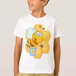 cute happy honey bee and honeycomb T-Shirt