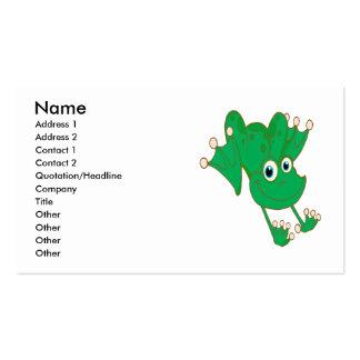 cute happy hopping green cartoon frog business card template