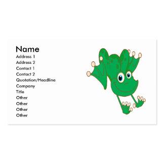 cute happy hopping green cartoon frog business card templates