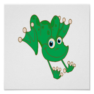 cute happy hopping green cartoon frog poster