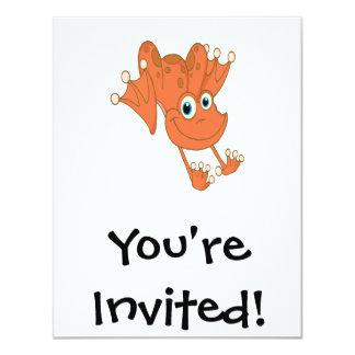 cute happy hopping orange frog card