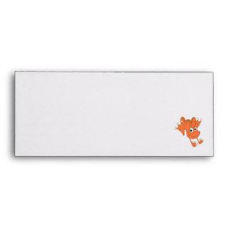 cute happy hopping orange frog envelope