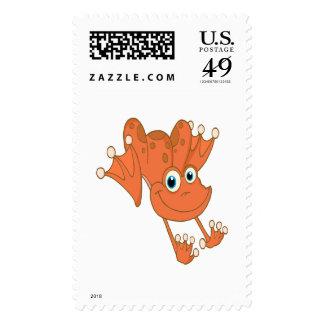 cute happy hopping orange frog postage