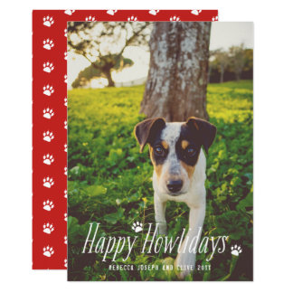 Cute Happy Howlidays Holiday Modern Dog Photo Card