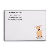 Cute happy jersey cow and flower cartoon envelope