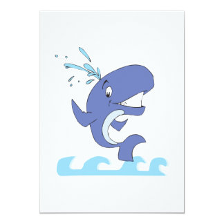 cute happy jumpy whale 5x7 paper invitation card