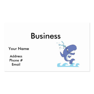 cute happy jumpy whale business cards