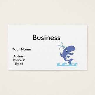 cute happy jumpy whale business card