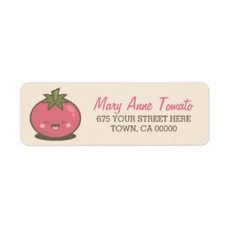 Cute Happy Kawaii Tomato Kids Custom Return Address Label