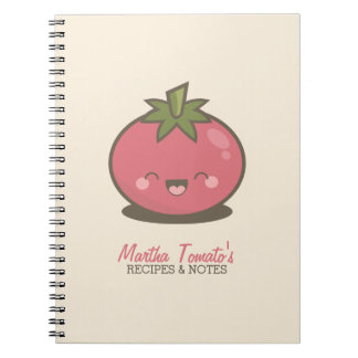 Cute Happy Kawaii Tomato Personalized Notebook