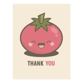 Cute Happy Kawaii Tomato Thank You Postcard