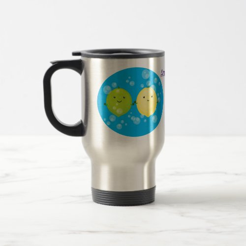 Cute happy lemon lime cartoon illustration travel mug