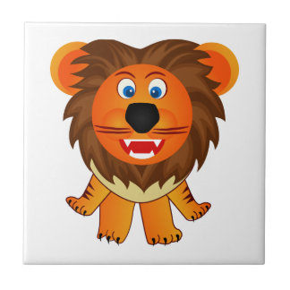 Cute happy lion animation illustration ceramic tiles