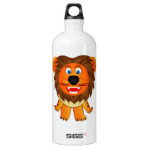 Cute happy lion animation illustration water bottle