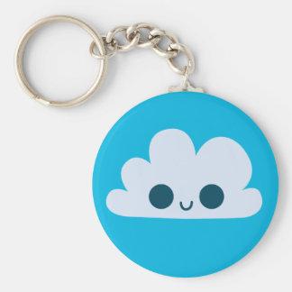 Cute Happy Little Cloud Basic Round Button Keychain