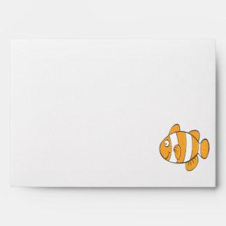 cute happy little clown fish cartoon character envelopes