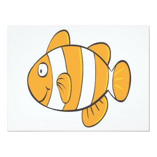 cute happy little clown fish cartoon character 6.5x8.75 paper invitation card