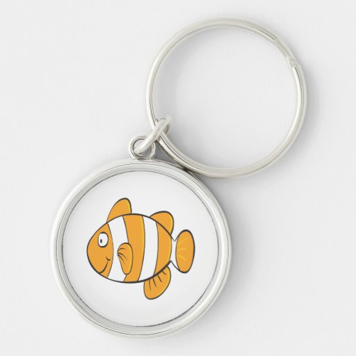 cute happy little clown fish cartoon character Silver-Colored round keychain