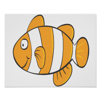 cute happy little clown fish cartoon character poster
