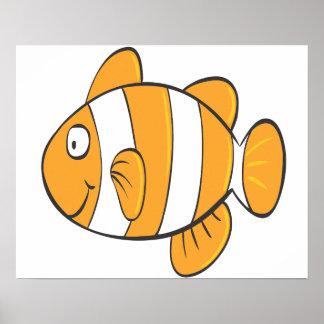 cute happy little clown fish cartoon character poster